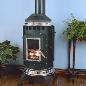 The Parlour Direct Vent Gas Stove S Clic Pot Belly Styling Hides A Truly Efficient Heater Core And Heat Exchange Ceramic Ember Burner With